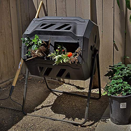 CRZJ Large Compost Tumbler Bin, Dual Chambers Composting Tumbler Rotating...