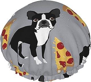 Szary Boston Terrier Pizza wodoodporna czapka prysznicowa z elastycznym brzegiem dwustronna konstrukcja do prysznica czapk...