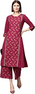 Ziyaa Women's Dark Pink Gold Print Straight Crepe Kurta With Palazzo / Salwar Suit Set