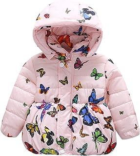 cb3434f9b425 ESHOO Baby Girls Butterfly Print Cotton Coat Parka Down Jacket Snowsuit  Winter Outerwear
