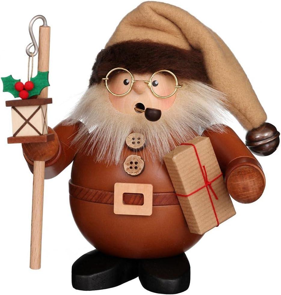 German Incense Smokers Santa with Lantern natural wood - 15,5cm