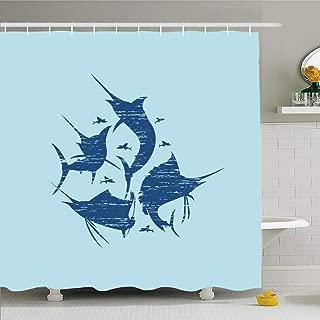Ahawoso Shower Curtain Set with Hooks 66x72 Traditional Marlin Fish Print Silhouette Design Animals Garment Wildlife Fashion Textures Creative Waterproof Polyester Fabric Bath Decor for Bathroom