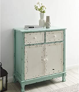 BELLEZE Rustic Wood Cabinet with Drawers and Doors Vintage Traditional Accent Storage Chest for Entryway, Living Room (Sea Foam Green)