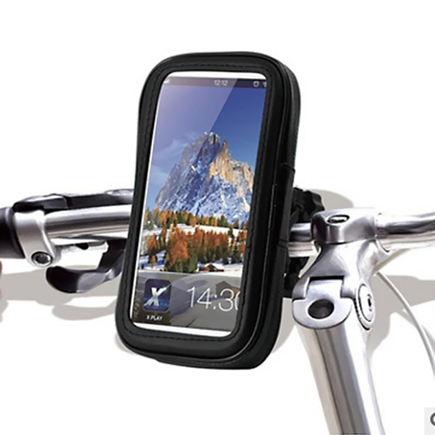 Bike Mount Phone Holder Pouch, Waterproof Bike Bicycle Phone Mount Holder with Water Resistant Cycling Frame Bag Transparent Touchable Pouch Case for Smartphones and GPS Devices