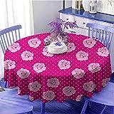 Tovaglia rotonda per feste, vintage, rosa pallido su sfondo bianco a pois, idea regalo per San...