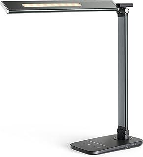 LITOM LED Desk Lamp for Home Office, Eye-Caring Desk Light with USB Charging Port, 10 Brightness, 5 Color Mode, Night Ligh...