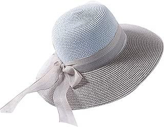 Womens Floppy Summer Sun Beach Straw Hat UPF50 Foldable Wide Brim 56-58cm