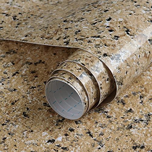 GloryTik Brown Granite Contact Paper Self Adhesive Film Peel and Stick Wallpaper...