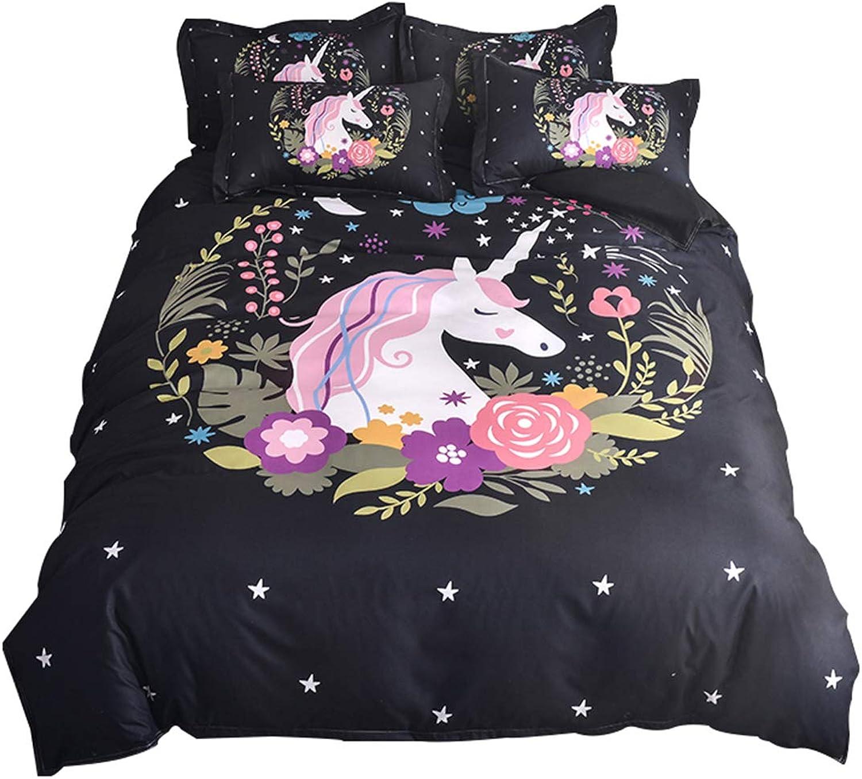 WINLIFE Watercolor Unicorn Print Duvet Cover for Girls Black Floral Bed Cover Set (Full, C)