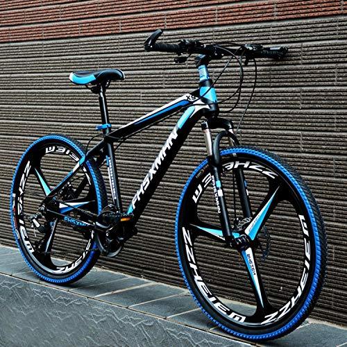 YKMY Erwachsene männliche und weibliche 26-Zoll-Rennrad Mountainbike, Variable Geschwindigkeit Männer und Frauen Offroad-Fahrrad-DREI Messer, EIN Rad schwarz blau_21 Geschwindigkeit-24 Zoll