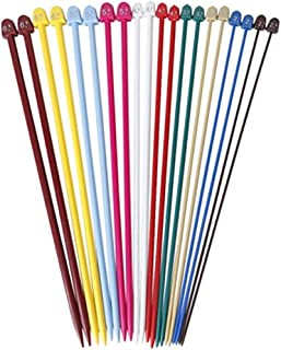 COSORO Lot de 10 paires d'aiguilles à tricoter droites en plastique coloré de 2,0 mm à 6,5 mm
