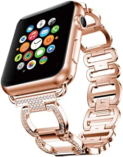 Women's Chain Link Watch Bands Replacement for Apple Watch 42mm 38mm Fashionable Designer Glitter Bling Bling Rose Gold Feminine Iwatch Bracelet