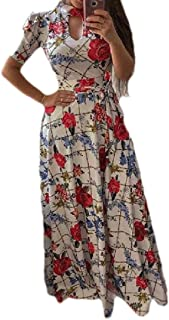 CBTLVSN Women's Evening Mid-Waist Princess Big-Swing Digital-Print Dresses