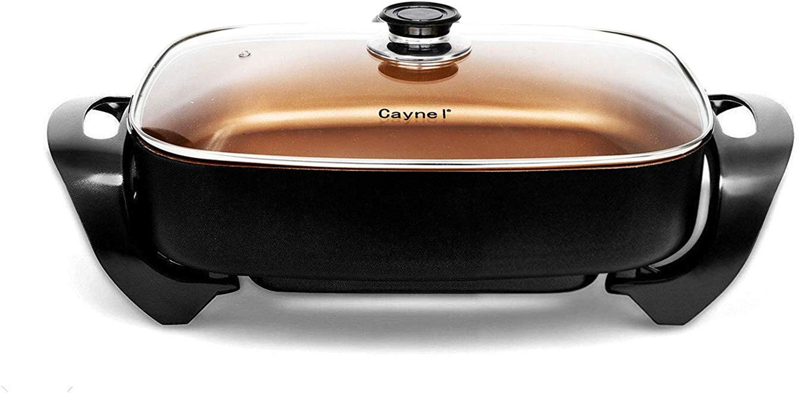 Caynel Professional Non Stick Electric Skillet Deep Dish With Tempered Glass Vented Lid Multipurpose Electric Pan With Removable Upgrade Thermostat 16 X 12 X 3 15 8 Quart Copper
