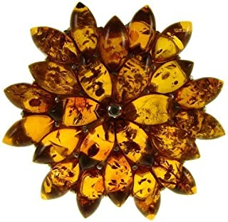 BALTIC AMBER AND STERLING SILVER 925 DESIGNER COGNAC FLOWER LEAF BROOCH PIN JEWELLERY JEWELRY