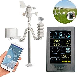 ウェザーステーション、多機能インテリジェントソーラーウェザーステーション、サポートモバイルAPPモニタリング、風速、降水量、気圧、屋内外の温度と湿度のリアルタイムモニタリング