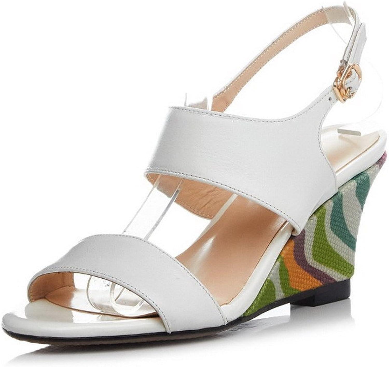 AmoonyFashion Women's Oxhide Solid Buckle Open-Toe High-Heels Sandals
