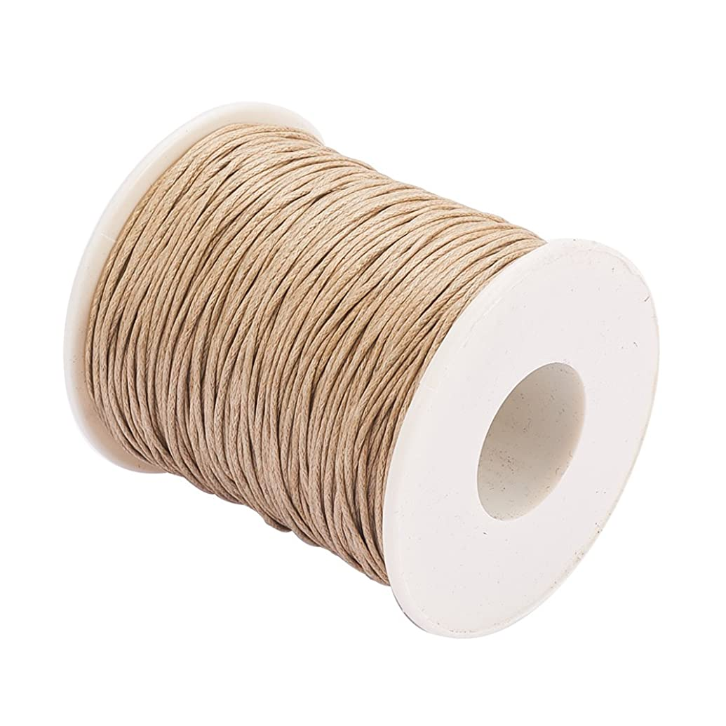 PH PandaHall 1 Roll 1mm 100 Yards Waxed Cotton Cord Thread Beading String for Jewelry Making Crafting Beading Macrame Ginger Yellow
