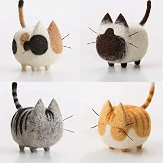 Ozone - DIY Needle Felting Kit Needle Wool kit Needlecrafts Faceless Cat (4 Pcs), Wool Felting Supplies for Arts & Crafts,