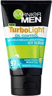 Garnier Men TurboLight Oil Control Icy Scrub 100ml- pore-unclogging micro-polishing beads, this scrub removes excessive oil, visibly reduces blackheads and lightens dark spots.