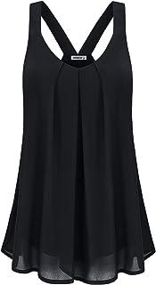 MOQIVGI Womens Dressy Casual Summer Flowy V Neck Double Layer Chiffon Tank Tops