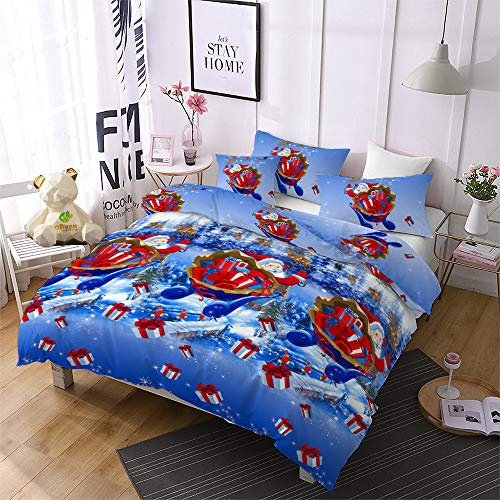 Christmas Bedding Set King Size Reversible Santa Claus Duvet Cover Reindeer/Tree/Bell Pattern Soft Xmas Quilts Cover Decor Holiday Bedroom-(1 Duvet Cover, 2 Pillowcase)