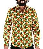 Chenaski 70er Jahre Flower Power Hemd orange M