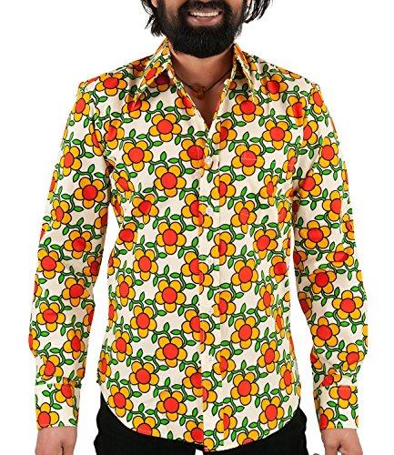 Chenaski 70er Jahre Flower Power Hemd orange XL