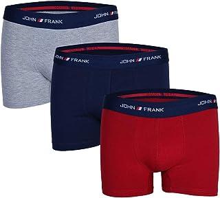 John Frank Men's Navy-Grey-Red Boxers 3 Pack