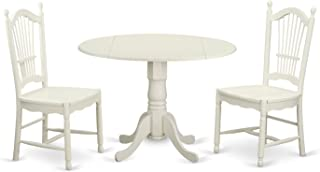 East West Furniture 3 PcKitchen Set for 2-Dinette Table and 2 Dining Chairs, Linen White