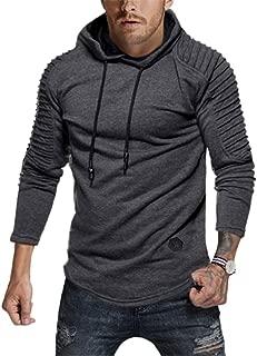 Best solid pleated sleeve hem curved long fleece hoodie Reviews
