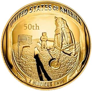 Apollo 11 50th Anniversary Commemorative Coin, NASA Man on Moon Statehood Quarters, American Series Commemorative Coin Ornaments Collection Arts Gifts Souvenir Novelty Coin