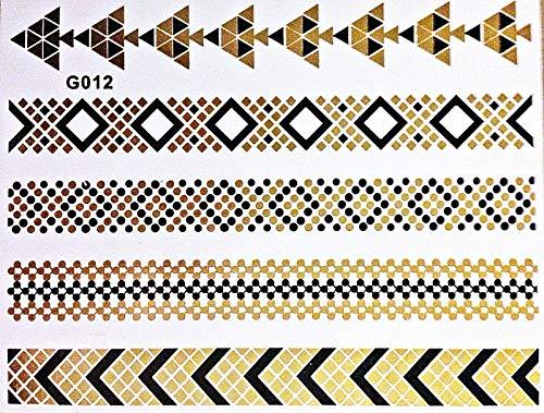 Tatouage métallique à usage unique - Doré et noir - Idéal pour la plage, les soirées discothèques, les mariages et les fêtes - G12