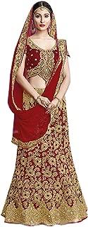 Wedding Special Indian Bridal Designer Velvet Silk Red Lehenga Choli Ghagara Dupatta Heavy Embroidery Ethnic Zari work 7239