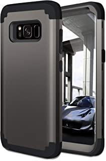Fingic Galaxy S8 Case, 3 in 1 Heavy Duty Hybrid Dual Layer Hard PC & Soft Silicone Rugged Bumper Anti Slip Full-Body Shockproof Protective Phone Cover Case for Samsung Galaxy S8 (2017) - Gunmetal