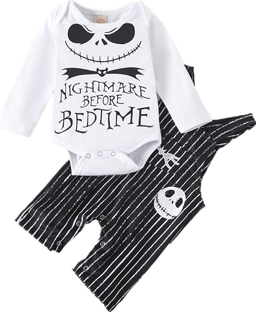 Newborn Baby Boys Girls Skull Romper Christmas Outfit Set Nightmare Before Bedtime Skull Halloween Clothing Set