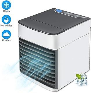 Pequeño Refrigerador Evaporativo, Ventilador de Escritorio,Portátil de Aire Acondicionado, Mini Purificador de Aire Humidificador de Refrigeración para el hogar habitación oficina, blanco