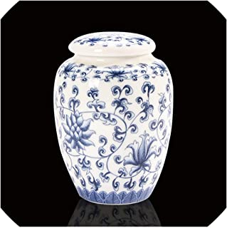Blue and White Porcelain Tea Caddy Mini Ceramic Jar Portable Travel Tea Cans Incense Powder Container,D