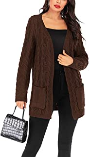 Women Winter Autumn Split Open Sweater Coat Long Sleeves Knitted Cute Solid Cardigan with Pockets Thick