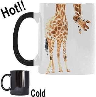 InterestPrint Watercolor Giraffe Animal Print Morphing Mug Heat Sensitive Color Changing Coffee Mug Cup , Funny African Wildlife Safari Coffee Mug Christmas Birthday Gifts