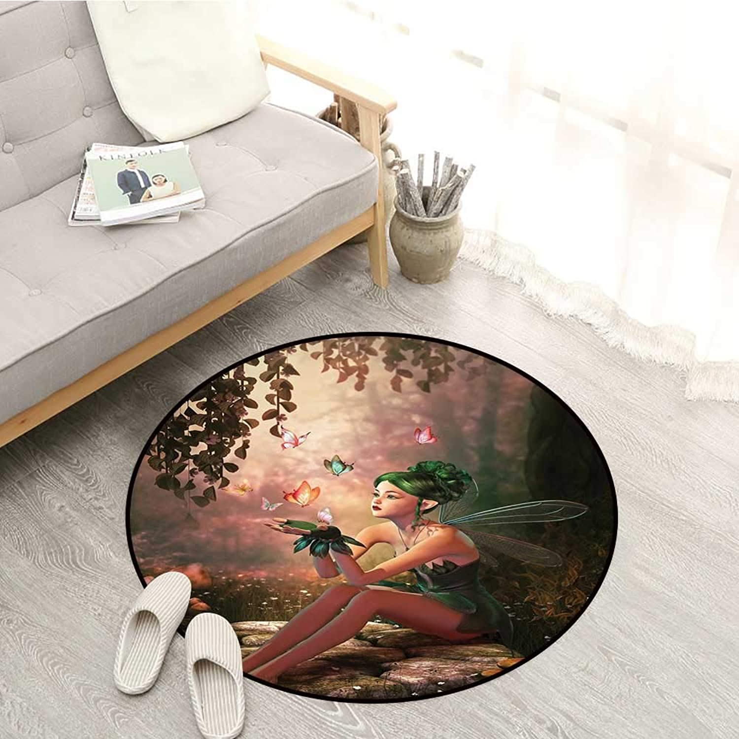 Fairy Non-Slip Rugs Girl with Wings and Butterflies Digital Composition Computer Graphics Elven Creature Sofa Coffee Table Mat 4'11  Multicolor