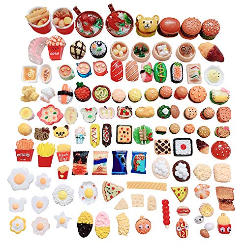Anrher 100pcs Miniature Foods Hamburg French Fries Sushi Decoration Mixed Resin Sets for Adults Kids Doll House Pretend Kitchen Play Cooking Game Toys DIY Birthday Party Present