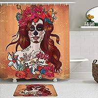 WOTAKA シャワーカーテン バスマット 2点セット 死者の日スペイン文化メキシコの頭蓋骨アート 自家 寮用 ホテル 間仕切り 浴室 バスルーム 風呂カーテン 足ふきマット 遮光 防水 おしゃれ 12個リング付き