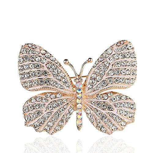 Belons Elegant Winged Butterfly Crystal Rhinestone Brooch Collar Pin Wedding Banquet Bouquet for Women&Girls, White