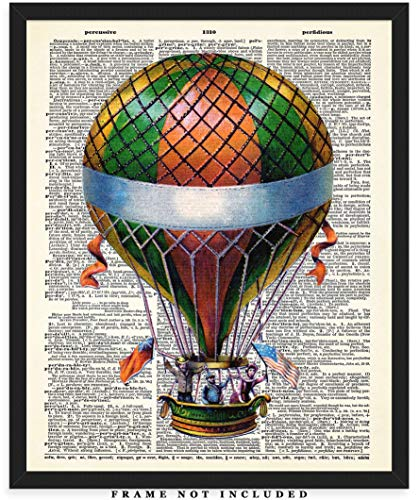 Vintage Hot Air Balloon Dictionary Wall Art Print: Unique Room Decor for Boys, Men, Girls & Women - (8x10) Unframed Picture - Great Gift Idea Antique Hot Air Balloon