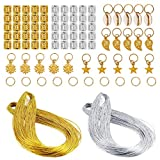 Ryalan Dreadlocks Hair Jewelry Rings 80 Pieces Aluminum Hair Accessories with Gold Silver Cord Metallic Gift Tags Gold Silver String Jewelry Thread for Hair Braiding Passion Twist and Craft Making