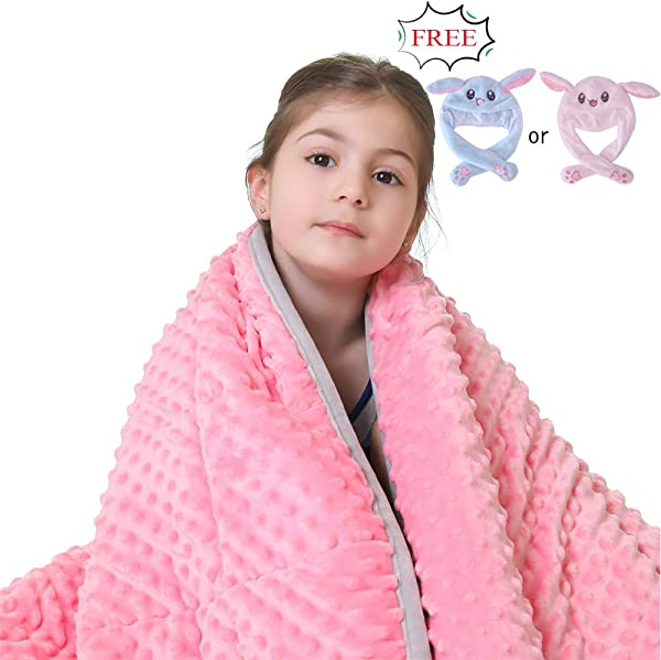 JHMENG Weighted Blanket For Kids 5lbs For 30 70 Lbs Heavy Blanket Weighted Soft Minky With Nontoxic Glass Beads