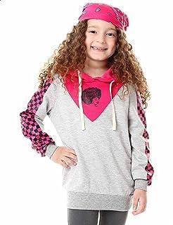 Andora Checkered Sleeves Drawstring Printed Hoodie for Girls