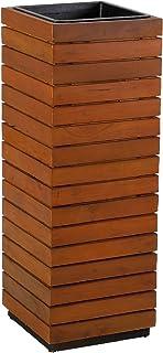 greemotion 130562 Columna de siembra con inserto negro para exterior / interior, madera de acacia, soporte para plantas, m...