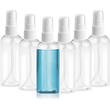 Henscoqi 6 Packs Spray Bottles, 3.38oz/100ml Empty Bottle, Mini Travel Size Spray Bottle Accessories Refillable Container Mist Bottles Clear Travel Bottles for Essential Oil, Perfume, M/U Remover